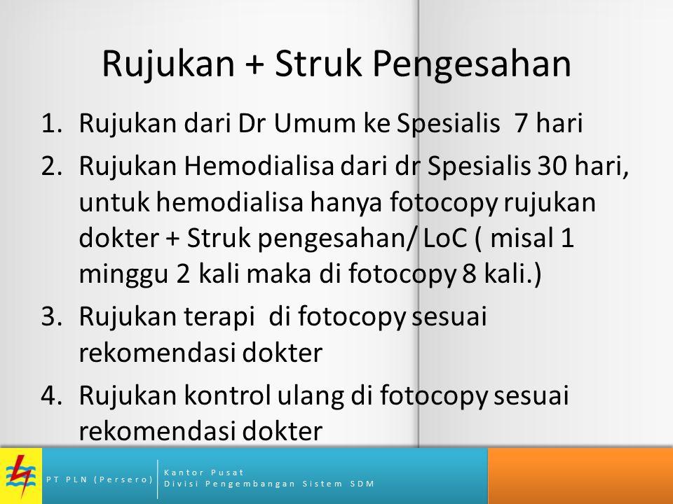 Kantor Pusat Divisi Pengembangan Sistem SDM PT PLN (Persero) Rujukan + Struk Pengesahan 1.Rujukan dari Dr Umum ke Spesialis 7 hari 2.Rujukan Hemodiali