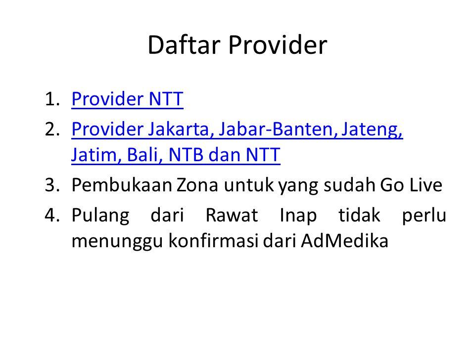 Daftar Provider 1.Provider NTTProvider NTT 2.Provider Jakarta, Jabar-Banten, Jateng, Jatim, Bali, NTB dan NTTProvider Jakarta, Jabar-Banten, Jateng, Jatim, Bali, NTB dan NTT 3.Pembukaan Zona untuk yang sudah Go Live 4.Pulang dari Rawat Inap tidak perlu menunggu konfirmasi dari AdMedika