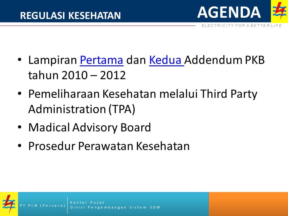 Kantor Pusat Divisi Pengembangan Sistem SDM PT PLN (Persero) Lampiran Pertama dan Kedua Addendum PKB tahun 2010 – 2012PertamaKedua Pemeliharaan Keseha
