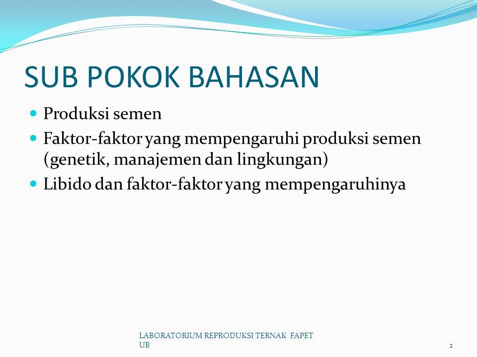SUB POKOK BAHASAN Produksi semen Faktor-faktor yang mempengaruhi produksi semen (genetik, manajemen dan lingkungan) Libido dan faktor-faktor yang mempengaruhinya LABORATORIUM REPRODUKSI TERNAK FAPET UB2