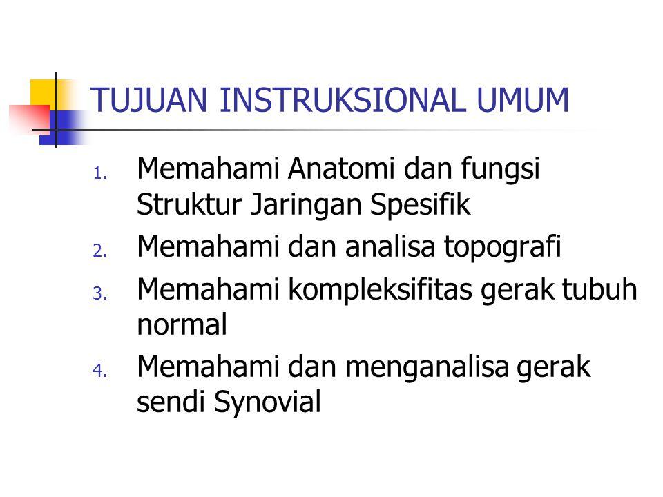 TUJUAN INSTRUKSIONAL UMUM 1. Memahami Anatomi dan fungsi Struktur Jaringan Spesifik 2. Memahami dan analisa topografi 3. Memahami kompleksifitas gerak