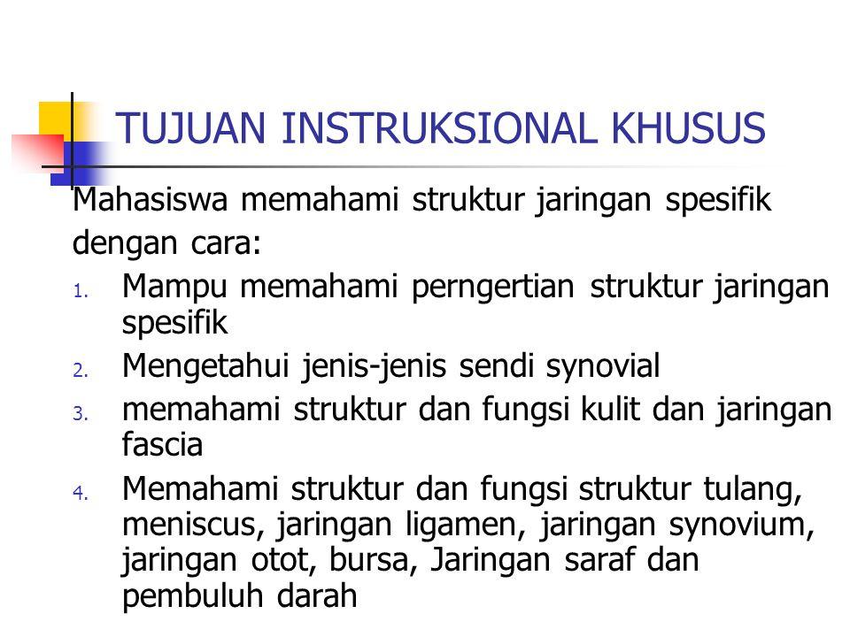 TUJUAN INSTRUKSIONAL KHUSUS Mahasiswa memahami struktur jaringan spesifik dengan cara: 1. Mampu memahami perngertian struktur jaringan spesifik 2. Men