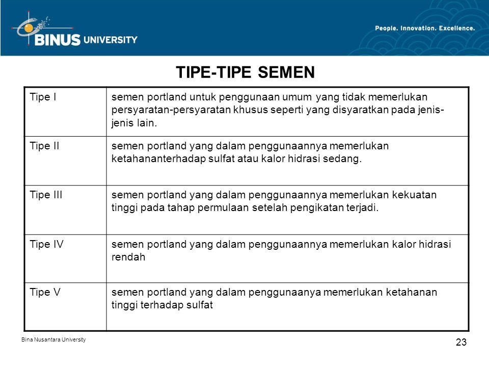 Bina Nusantara University 23 TIPE-TIPE SEMEN Tipe Isemen portland untuk penggunaan umum yang tidak memerlukan persyaratan-persyaratan khusus seperti y