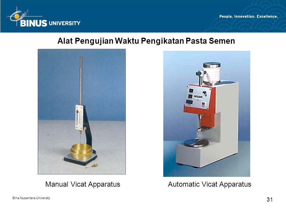 Bina Nusantara University 31 Alat Pengujian Waktu Pengikatan Pasta Semen Manual Vicat ApparatusAutomatic Vicat Apparatus