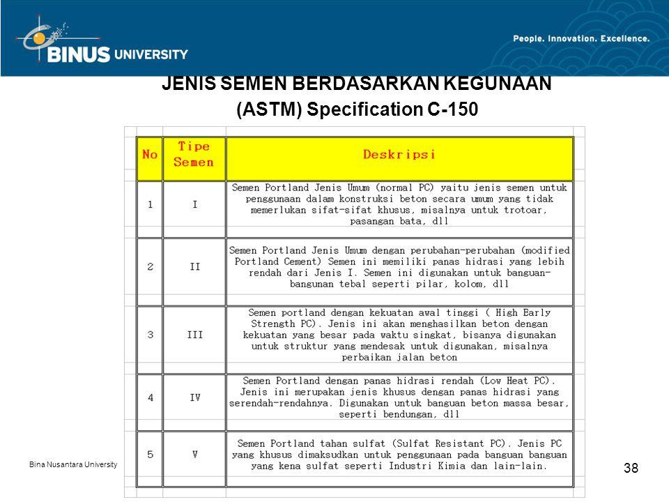 Bina Nusantara University 38 JENIS SEMEN BERDASARKAN KEGUNAAN (ASTM) Specification C-150