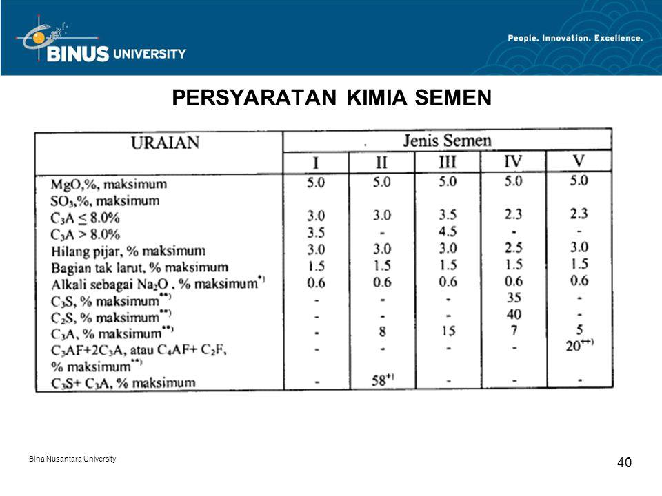 Bina Nusantara University 40 PERSYARATAN KIMIA SEMEN