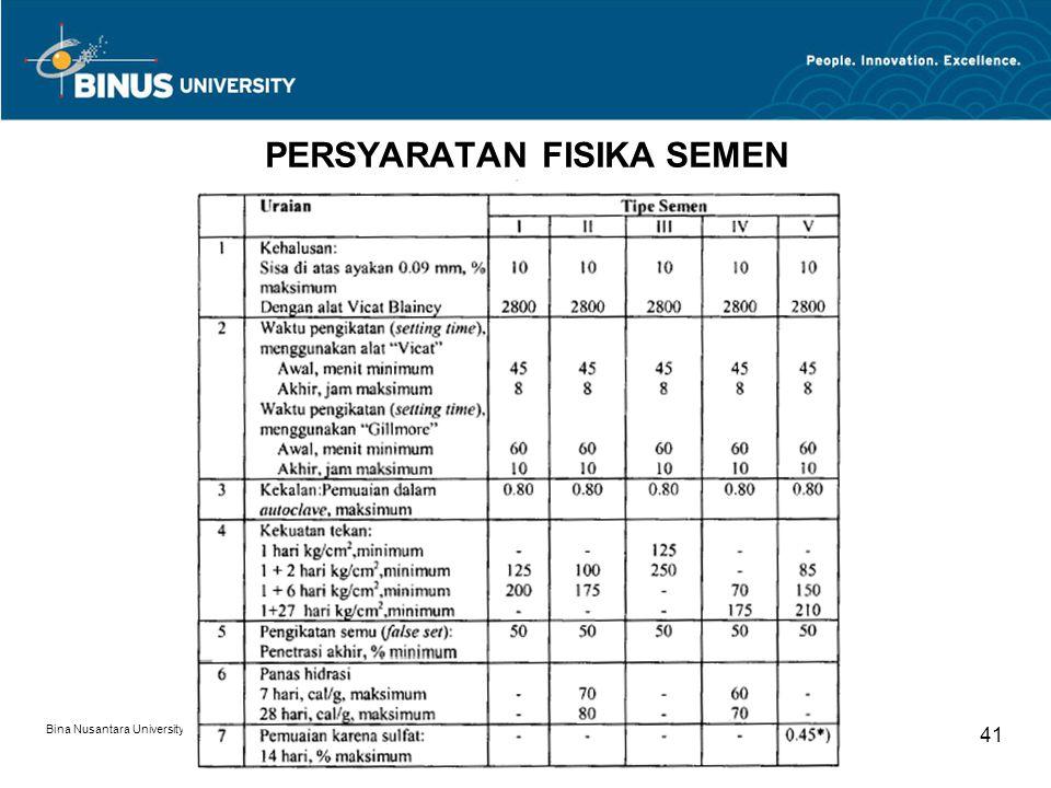 Bina Nusantara University 41 PERSYARATAN FISIKA SEMEN