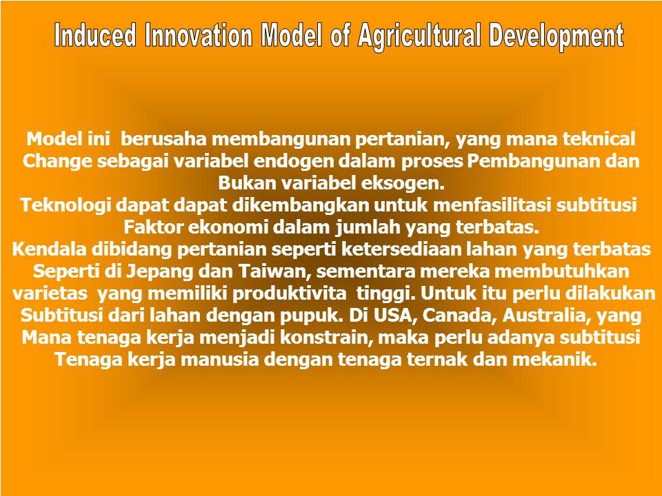 Model ini berusaha membangunan pertanian, yang mana teknical Change sebagai variabel endogen dalam proses Pembangunan dan Bukan variabel eksogen. Tekn