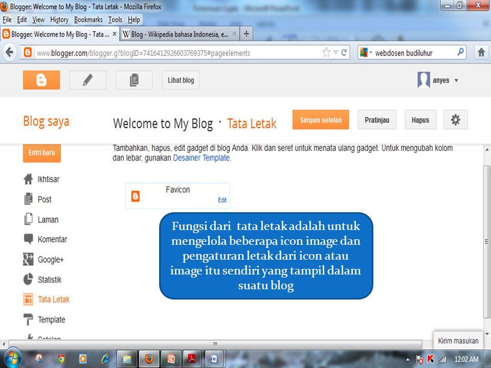 Fungsi dari tata letak adalah untuk mengelola beberapa icon image dan pengaturan letak dari icon atau image itu sendiri yang tampil dalam suatu blog