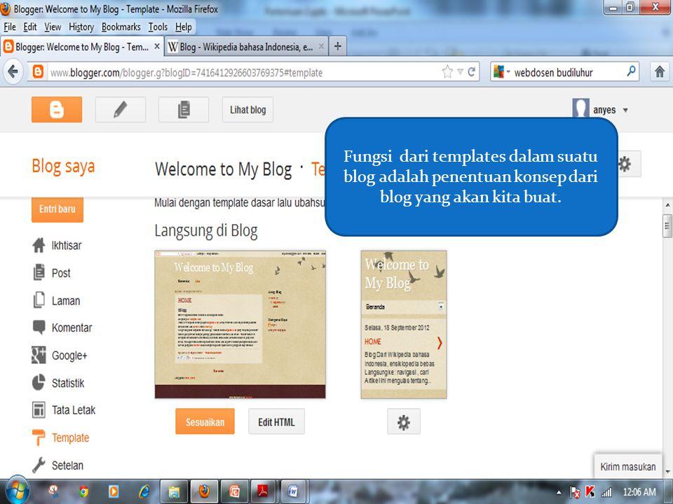 Fungsi dari templates dalam suatu blog adalah penentuan konsep dari blog yang akan kita buat.