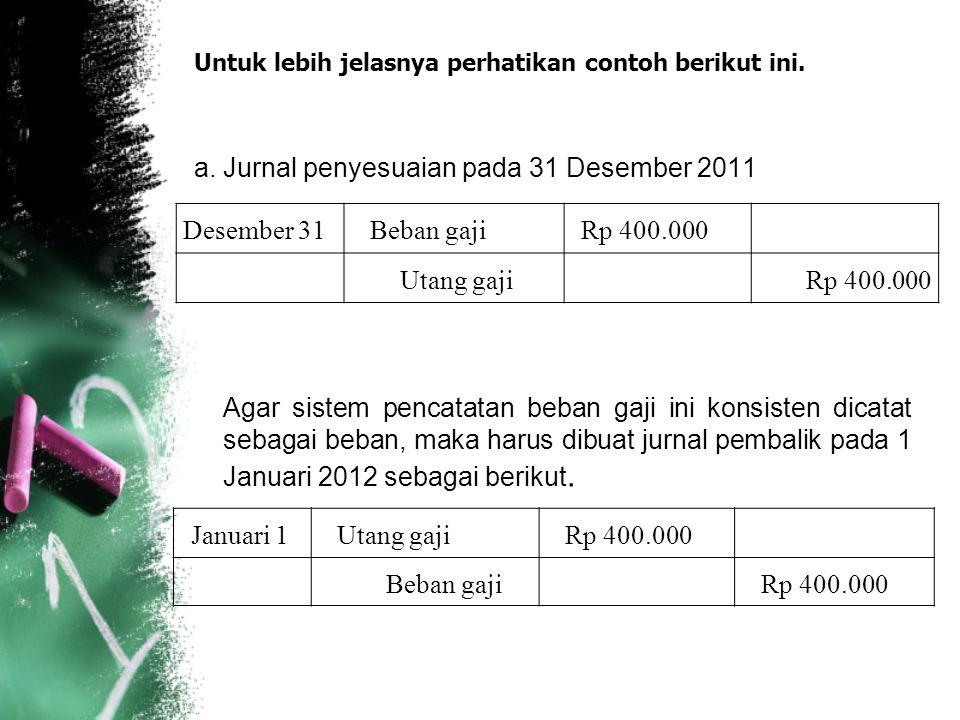 Untuk lebih jelasnya perhatikan contoh berikut ini. a. Jurnal penyesuaian pada 31 Desember 2011 Agar sistem pencatatan beban gaji ini konsisten dicata