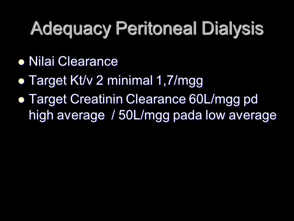 Adequacy Peritoneal Dialysis Nilai Clearance Nilai Clearance Target Kt/v 2 minimal 1,7/mgg Target Kt/v 2 minimal 1,7/mgg Target Creatinin Clearance 60L/mgg pd high average / 50L/mgg pada low average Target Creatinin Clearance 60L/mgg pd high average / 50L/mgg pada low average