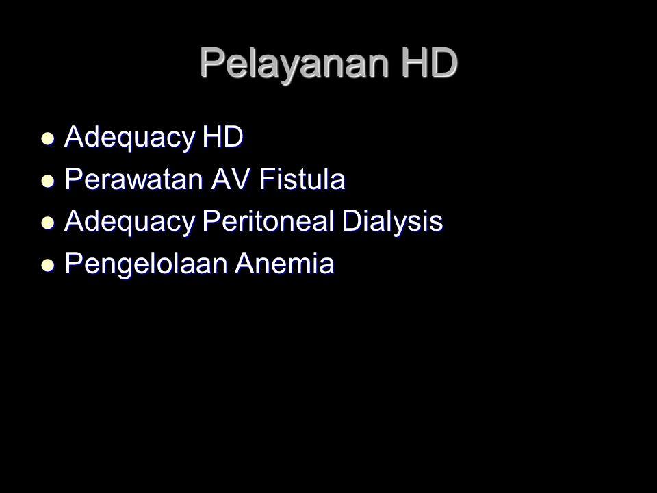 Pelayanan HD Adequacy HD Adequacy HD Perawatan AV Fistula Perawatan AV Fistula Adequacy Peritoneal Dialysis Adequacy Peritoneal Dialysis Pengelolaan Anemia Pengelolaan Anemia