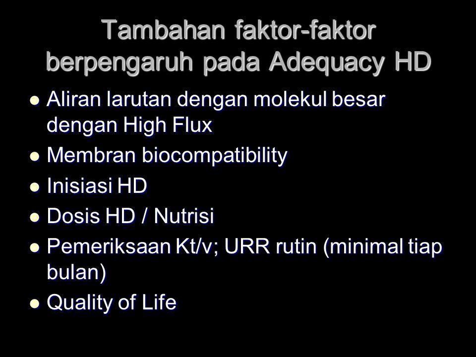 Tambahan faktor-faktor berpengaruh pada Adequacy HD Aliran larutan dengan molekul besar dengan High Flux Aliran larutan dengan molekul besar dengan High Flux Membran biocompatibility Membran biocompatibility Inisiasi HD Inisiasi HD Dosis HD / Nutrisi Dosis HD / Nutrisi Pemeriksaan Kt/v; URR rutin (minimal tiap bulan) Pemeriksaan Kt/v; URR rutin (minimal tiap bulan) Quality of Life Quality of Life
