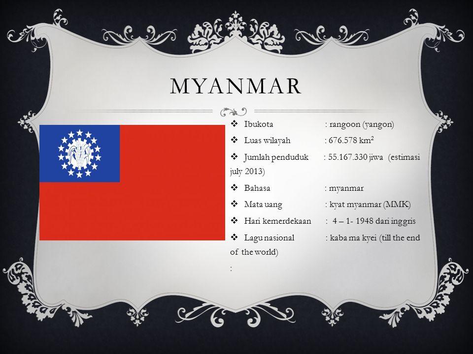 MYANMAR  Ibukota : rangoon (yangon)  Luas wilayah : 676.578 km 2  Jumlah penduduk : 55.167.330 jiwa (estimasi july 2013)  Bahasa : myanmar  Mata