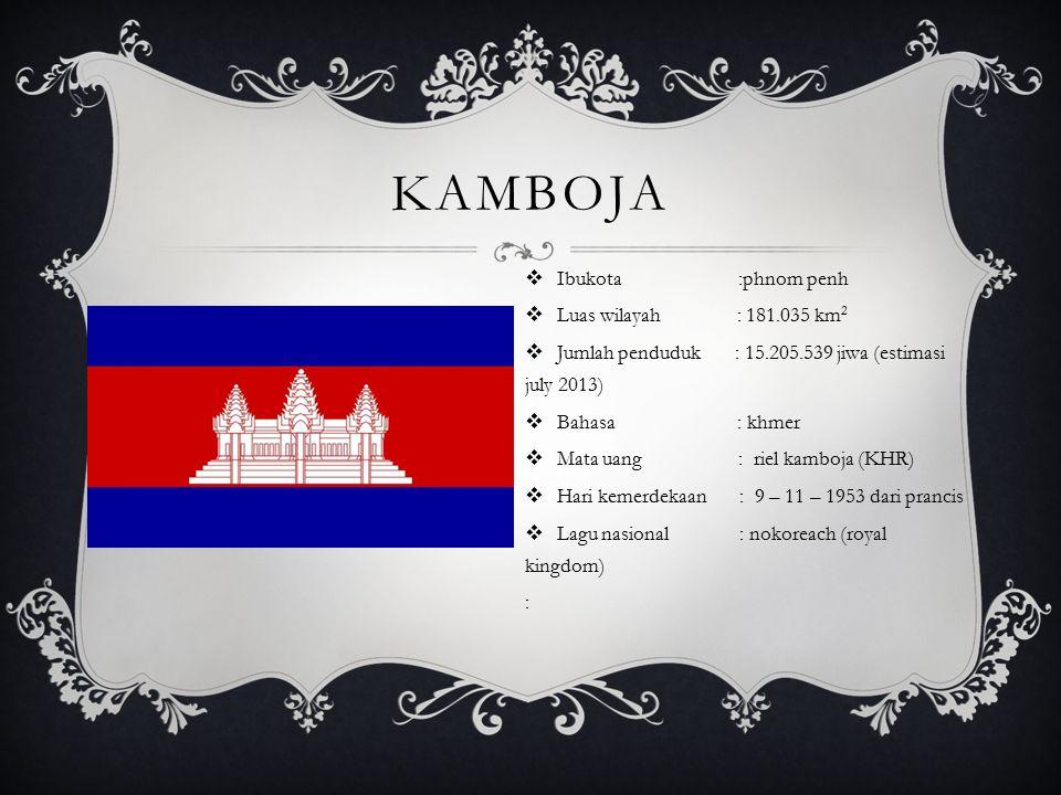 KAMBOJA  Ibukota :phnom penh  Luas wilayah : 181.035 km 2  Jumlah penduduk : 15.205.539 jiwa (estimasi july 2013)  Bahasa : khmer  Mata uang : ri