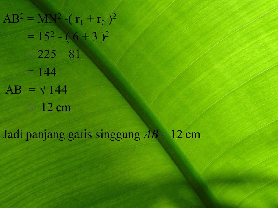 AB 2 = MN 2 -( r1 r1 + r2 r2 )2)2 = 15 2 - ( 6 + 3 )2)2 = 225 – 81 = 144 AB = √ 144 = 12 cm Jadi panjang garis singgung AB= 12 cm