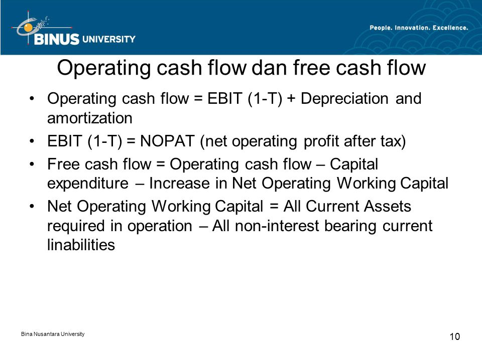 Operating cash flow dan free cash flow Operating cash flow = EBIT (1-T) + Depreciation and amortization EBIT (1-T) = NOPAT (net operating profit after