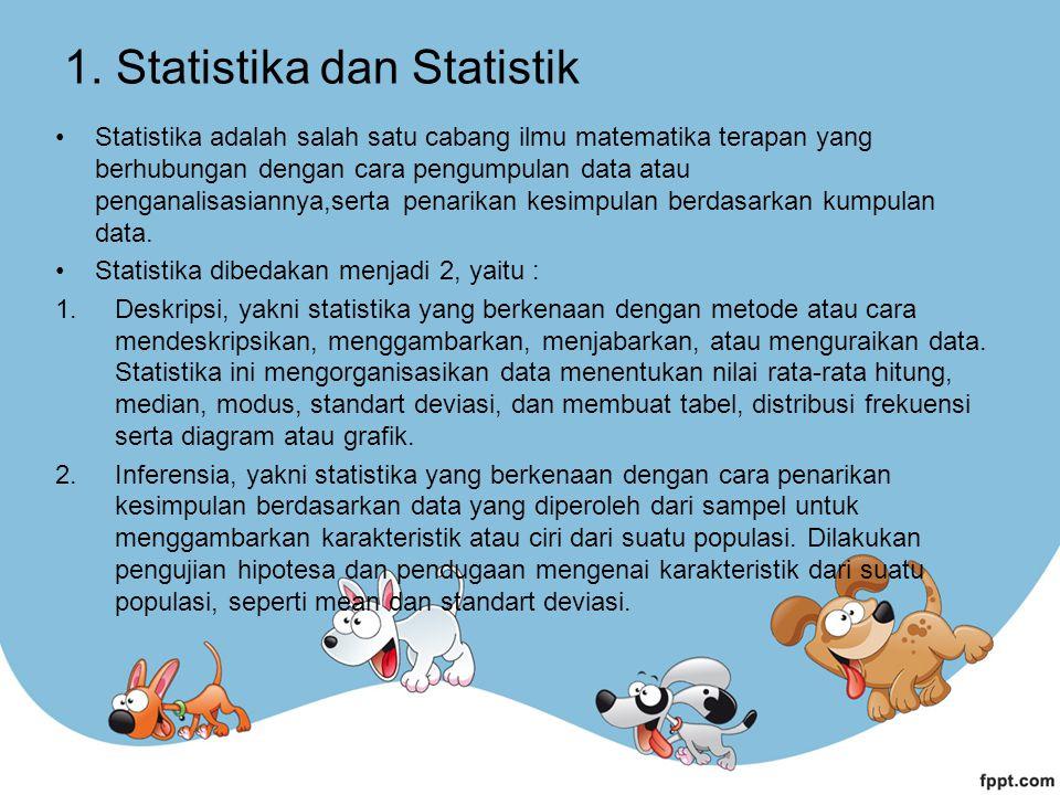 1. Statistika dan Statistik Statistika adalah salah satu cabang ilmu matematika terapan yang berhubungan dengan cara pengumpulan data atau penganalisa