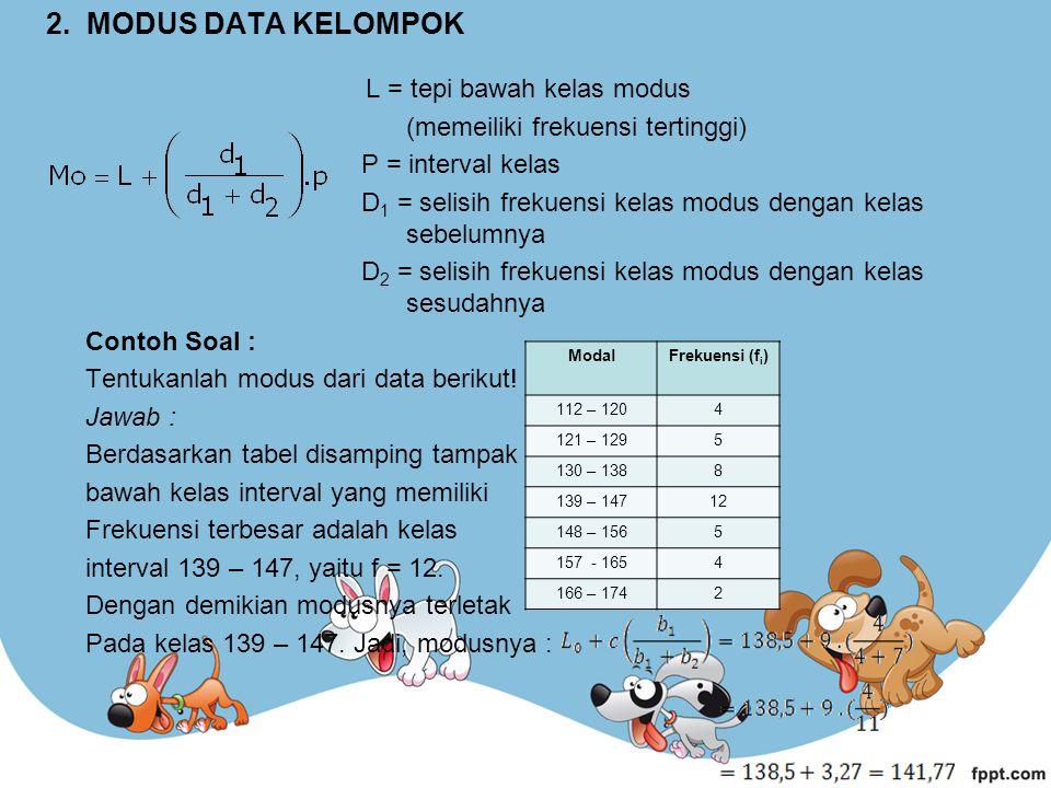 2. MODUS DATA KELOMPOK L = tepi bawah kelas modus (memeiliki frekuensi tertinggi) P = interval kelas D 1 = selisih frekuensi kelas modus dengan kelas