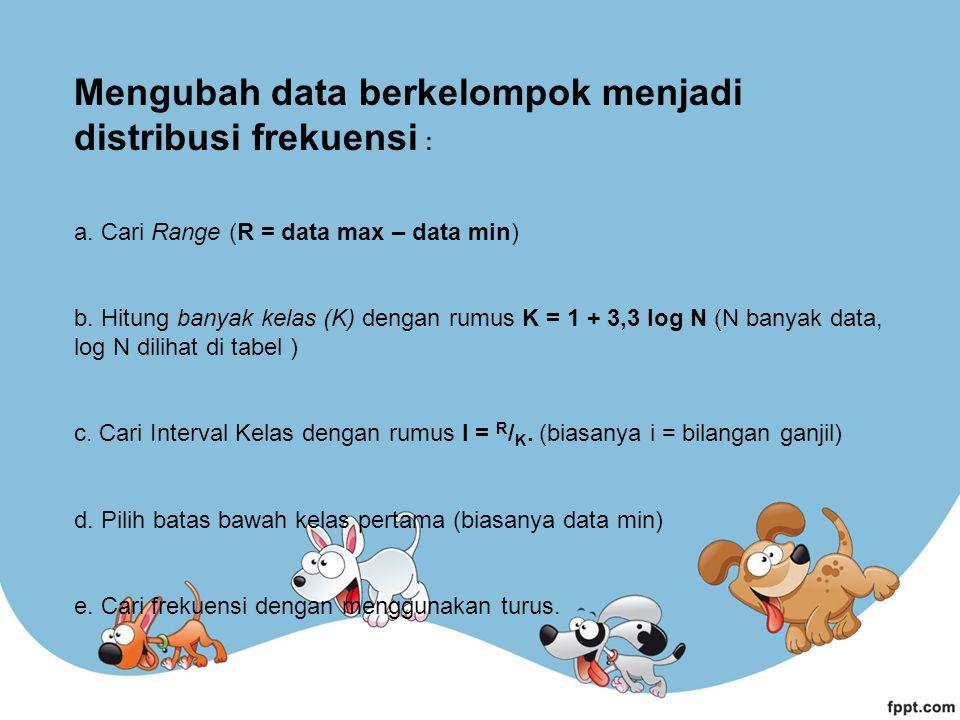 Mengubah data berkelompok menjadi distribusi frekuensi : a. Cari Range (R = data max – data min) b. Hitung banyak kelas (K) dengan rumus K = 1 + 3,3 l