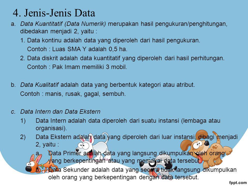 4. Jenis-Jenis Data a.Data Kuantitatif (Data Numerik) merupakan hasil pengukuran/penghitungan, dibedakan menjadi 2, yaitu : 1. Data kontinu adalah dat