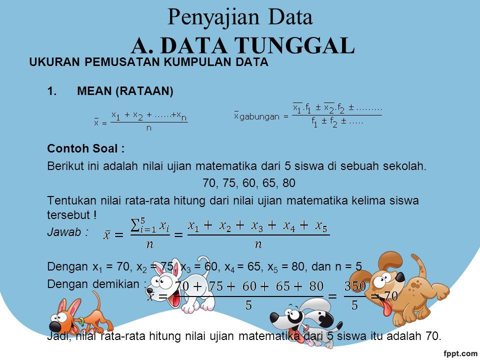 Penyajian Data A. DATA TUNGGAL UKURAN PEMUSATAN KUMPULAN DATA 1. MEAN (RATAAN) Contoh Soal : Berikut ini adalah nilai ujian matematika dari 5 siswa di