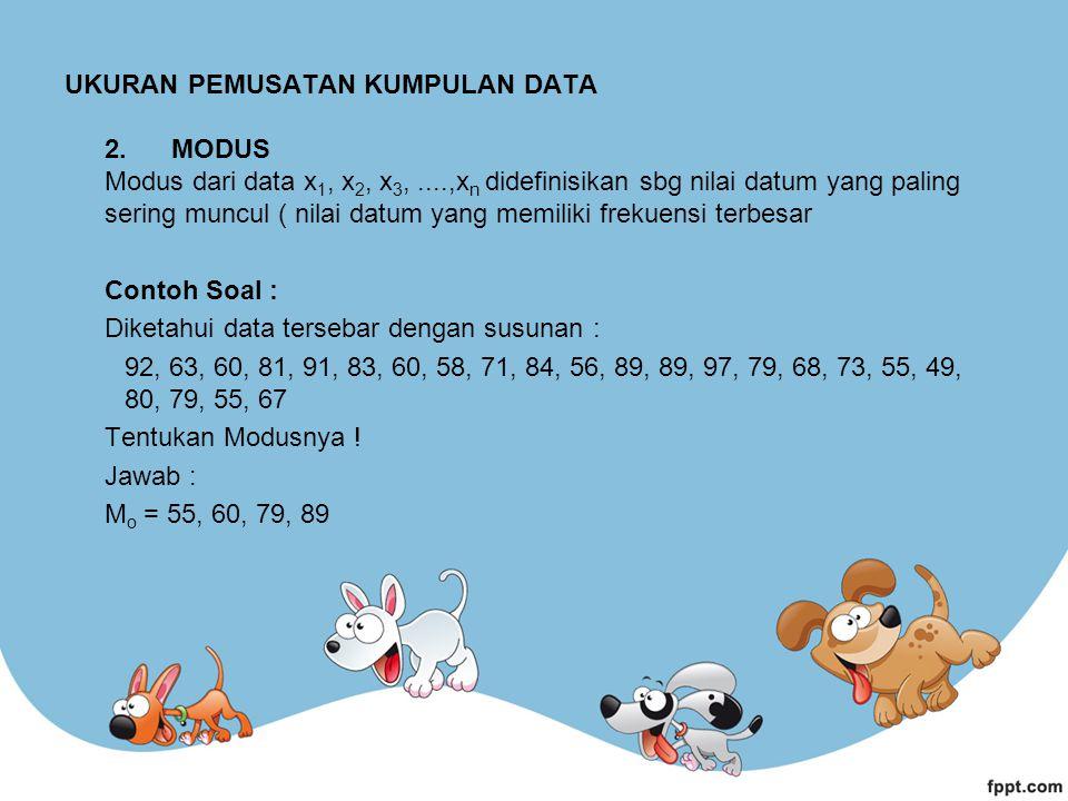 UKURAN PEMUSATAN KUMPULAN DATA 2. MODUS Modus dari data x 1, x 2, x 3,....,x n didefinisikan sbg nilai datum yang paling sering muncul ( nilai datum y