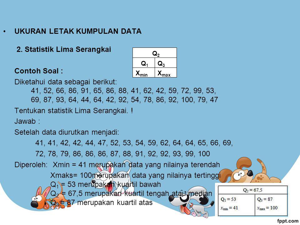 UKURAN LETAK KUMPULAN DATA 2. Statistik Lima Serangkai Contoh Soal : Diketahui data sebagai berikut: 41, 52, 66, 86, 91, 65, 86, 88, 41, 62, 42, 59, 7