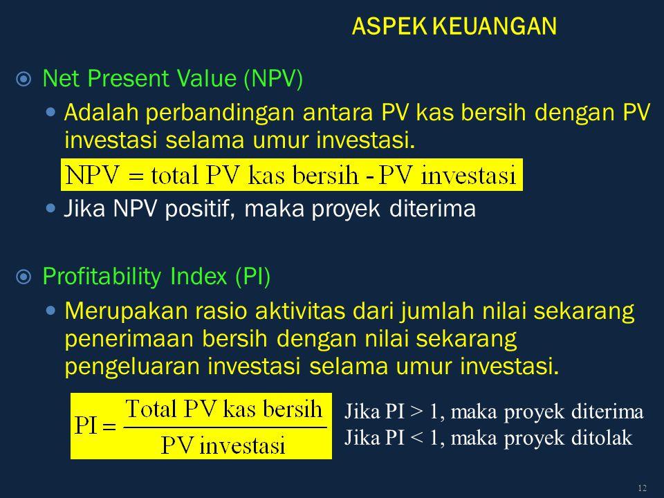 ASPEK KEUANGAN  Net Present Value (NPV) Adalah perbandingan antara PV kas bersih dengan PV investasi selama umur investasi. Jika NPV positif, maka pr