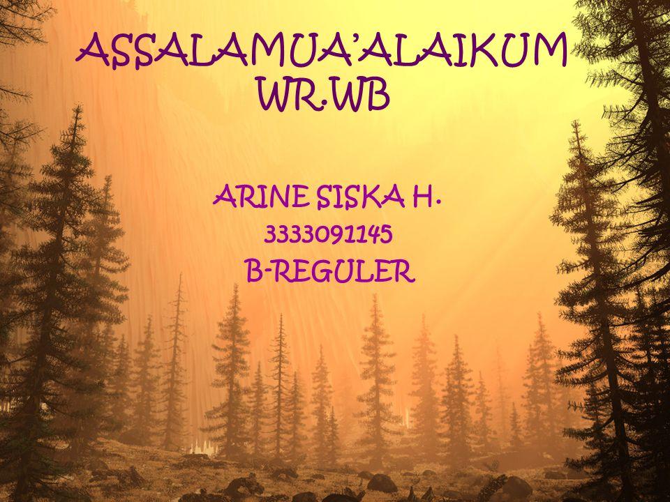 ASSALAMUA'ALAIKUM WR.WB ARINE SISKA H. 3333091145 B-REGULER