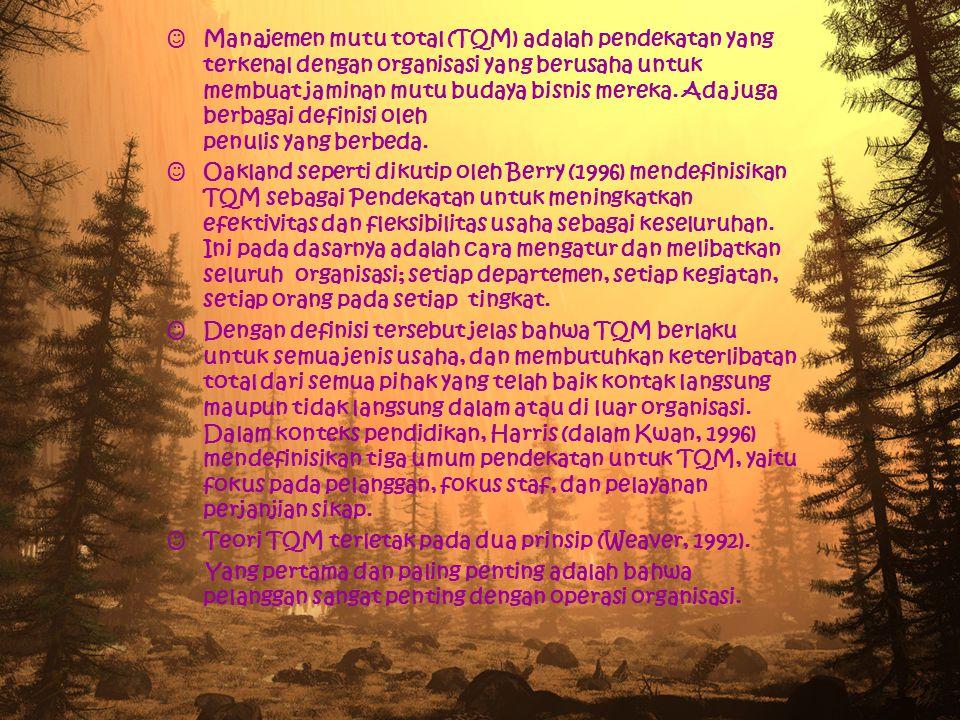 Manajemen mutu total (TQM) adalah pendekatan yang terkenal dengan organisasi yang berusaha untuk membuat jaminan mutu budaya bisnis mereka.