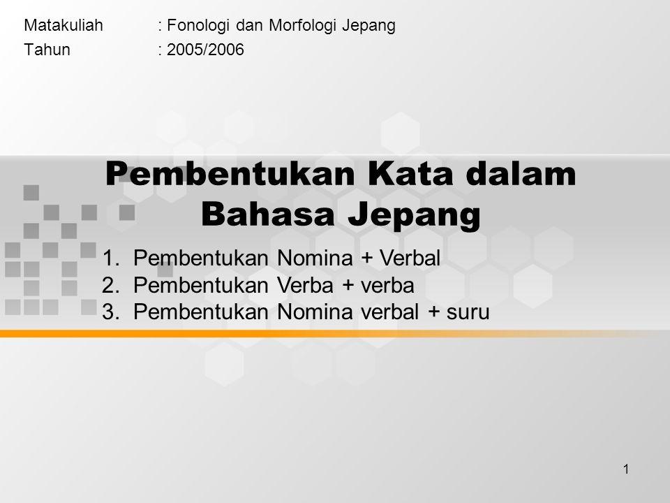 1 Pembentukan Kata dalam Bahasa Jepang Matakuliah: Fonologi dan Morfologi Jepang Tahun: 2005/2006 1. Pembentukan Nomina + Verbal 2. Pembentukan Verba