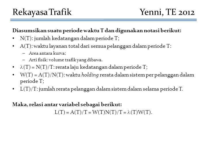 Diasumsikan suatu periode waktu T dan digunakan notasi berikut: N(T): jumlah kedatangan dalam periode T; A(T): waktu layanan total dari semua pelangga