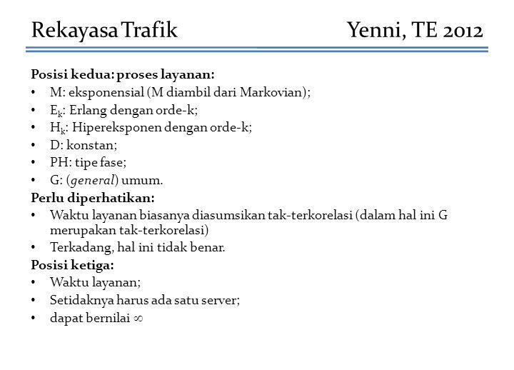 Posisi kedua: proses layanan: M: eksponensial (M diambil dari Markovian); E k : Erlang dengan orde-k; H k : Hipereksponen dengan orde-k; D: konstan; P