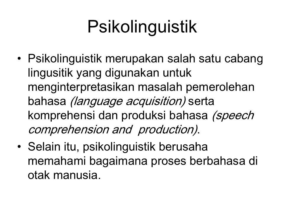 Psikolinguistik Psikolinguistik merupakan salah satu cabang lingusitik yang digunakan untuk menginterpretasikan masalah pemerolehan bahasa (language a