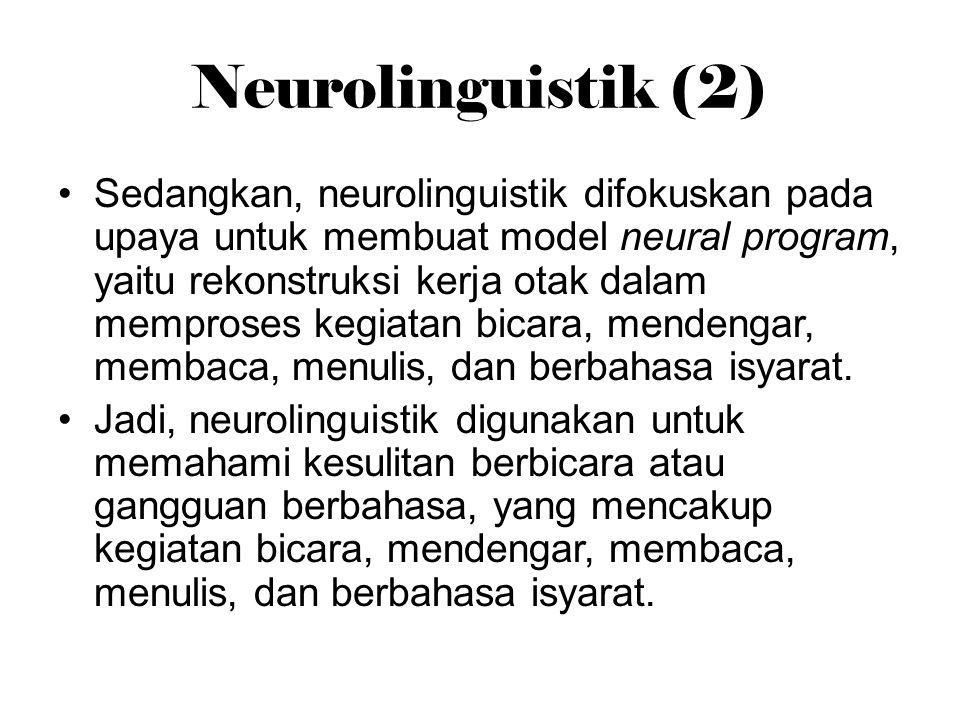Neurolinguistik (2) Sedangkan, neurolinguistik difokuskan pada upaya untuk membuat model neural program, yaitu rekonstruksi kerja otak dalam memproses