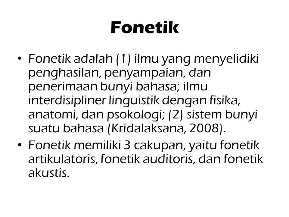 Fonetik Fonetik adalah (1) ilmu yang menyelidiki penghasilan, penyampaian, dan penerimaan bunyi bahasa; ilmu interdisipliner linguistik dengan fisika,