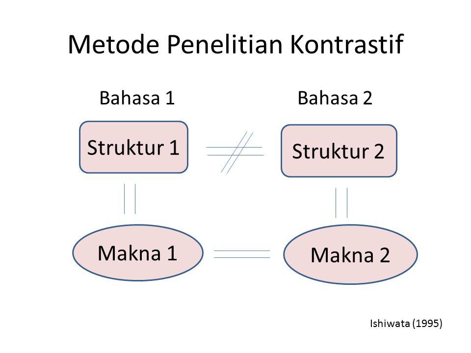 Metode Penelitian Kontrastif Bahasa 1 Bahasa 2 Struktur 1 Struktur 2 Makna 1 Makna 2 Ishiwata (1995)
