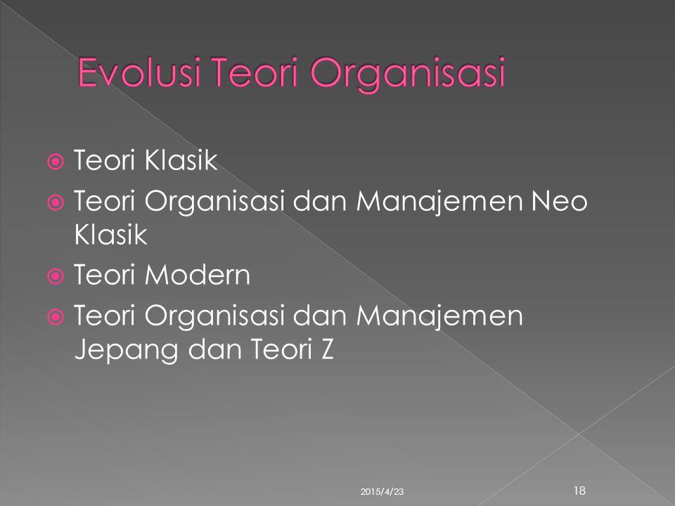  Teori Klasik  Teori Organisasi dan Manajemen Neo Klasik  Teori Modern  Teori Organisasi dan Manajemen Jepang dan Teori Z 2015/4/23 18