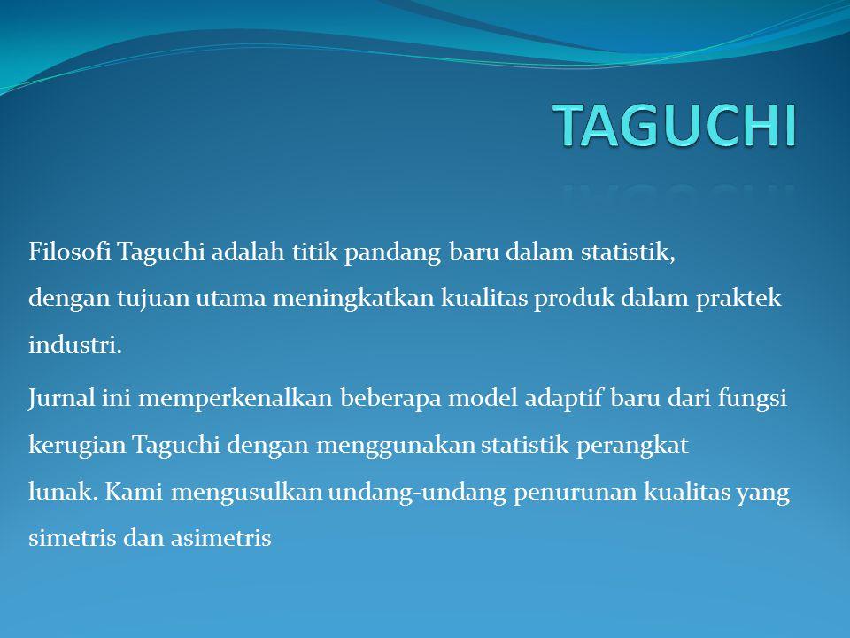 Filosofi Taguchi adalah titik pandang baru dalam statistik, dengan tujuan utama meningkatkan kualitas produk dalam praktek industri. Jurnal ini memper