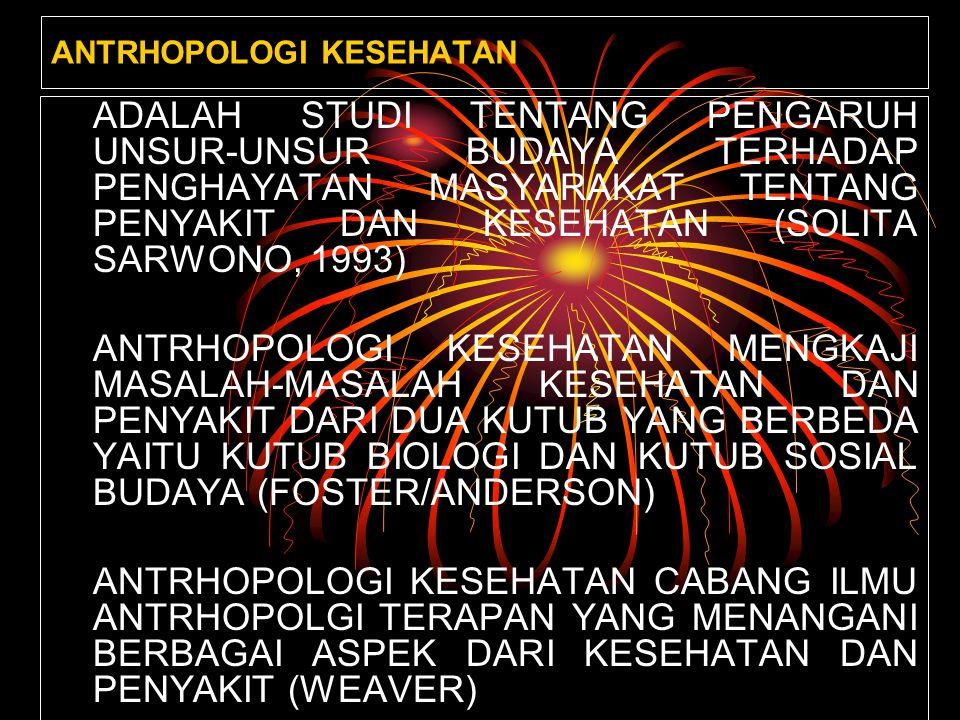 ANTRHOPOLOGI KESEHATAN ADALAH STUDI TENTANG PENGARUH UNSUR-UNSUR BUDAYA TERHADAP PENGHAYATAN MASYARAKAT TENTANG PENYAKIT DAN KESEHATAN (SOLITA SARWONO, 1993) ANTRHOPOLOGI KESEHATAN MENGKAJI MASALAH-MASALAH KESEHATAN DAN PENYAKIT DARI DUA KUTUB YANG BERBEDA YAITU KUTUB BIOLOGI DAN KUTUB SOSIAL BUDAYA (FOSTER/ANDERSON) ANTRHOPOLOGI KESEHATAN CABANG ILMU ANTRHOPOLGI TERAPAN YANG MENANGANI BERBAGAI ASPEK DARI KESEHATAN DAN PENYAKIT (WEAVER)
