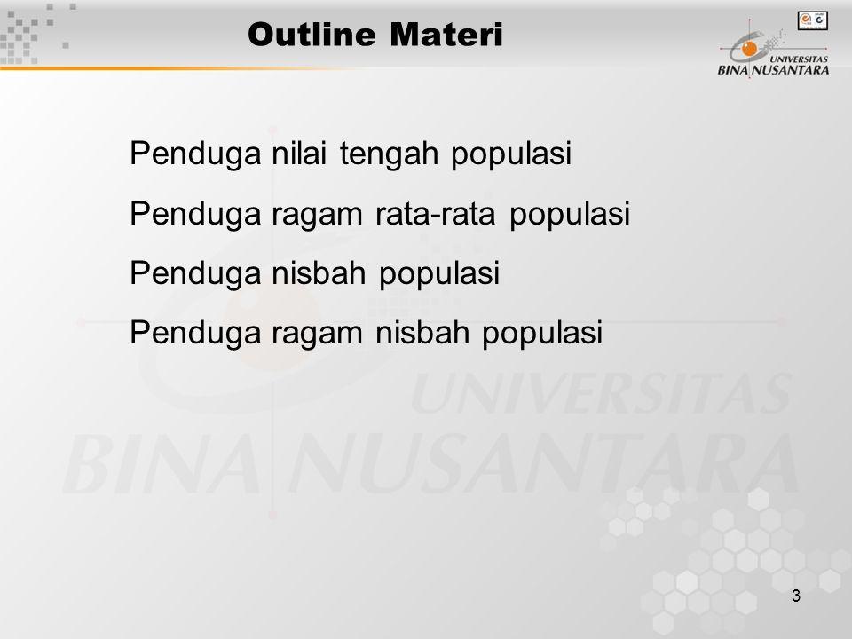 3 Outline Materi Penduga nilai tengah populasi Penduga ragam rata-rata populasi Penduga nisbah populasi Penduga ragam nisbah populasi