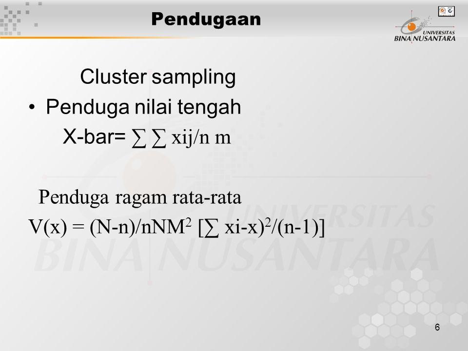 6 Pendugaan Cluster sampling Penduga nilai tengah X-bar= ∑ ∑ xij/n m Penduga ragam rata-rata V(x) = (N-n)/nNM 2 [∑ xi-x) 2 /(n-1)]