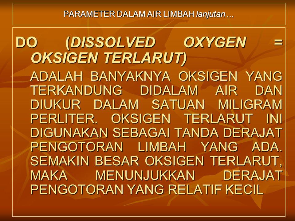 PARAMETER DALAM AIR LIMBAH lanjutan... DO (DISSOLVED OXYGEN = OKSIGEN TERLARUT) ADALAH BANYAKNYA OKSIGEN YANG TERKANDUNG DIDALAM AIR DAN DIUKUR DALAM