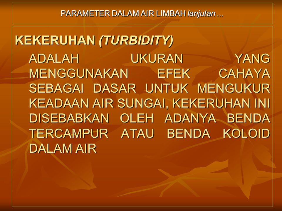 PARAMETER DALAM AIR LIMBAH lanjutan... KEKERUHAN (TURBIDITY) ADALAH UKURAN YANG MENGGUNAKAN EFEK CAHAYA SEBAGAI DASAR UNTUK MENGUKUR KEADAAN AIR SUNGA
