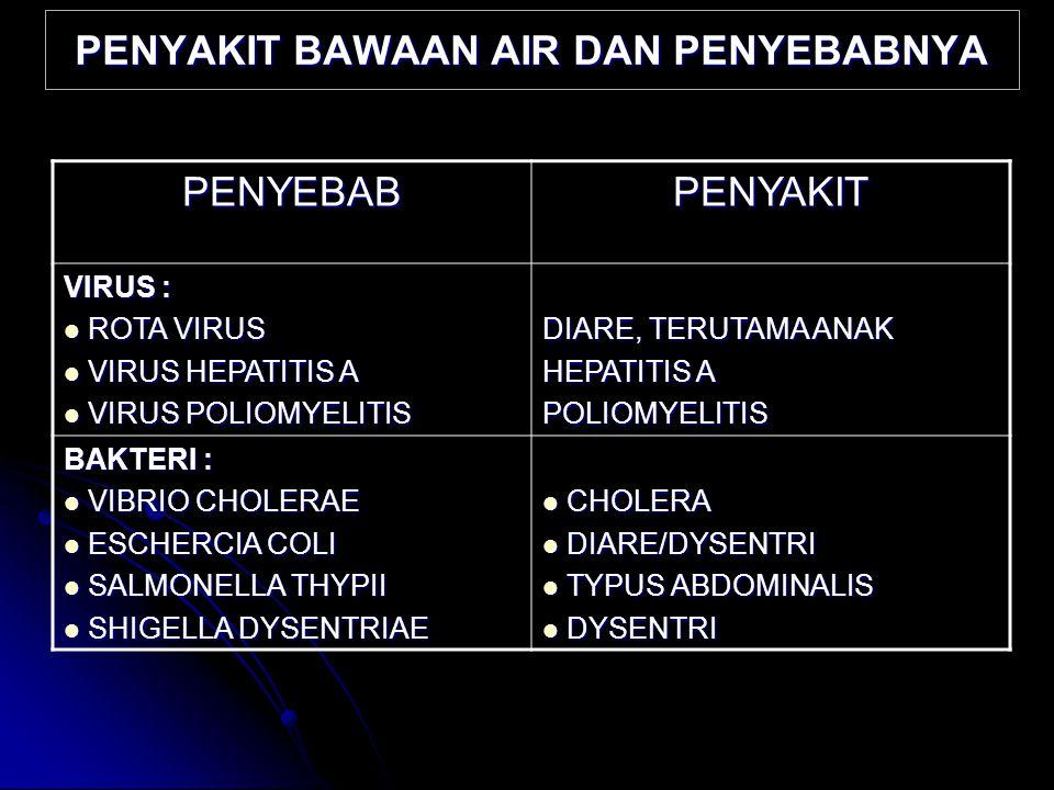 PENYAKIT BAWAAN AIR DAN PENYEBABNYA PENYEBABPENYAKIT VIRUS : ROTA VIRUS ROTA VIRUS VIRUS HEPATITIS A VIRUS HEPATITIS A VIRUS POLIOMYELITIS VIRUS POLIO