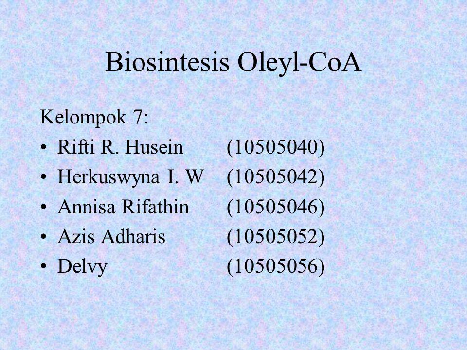 Biosintesis Oleyl-CoA Kelompok 7: Rifti R. Husein (10505040) Herkuswyna I. W (10505042) Annisa Rifathin (10505046) Azis Adharis (10505052) Delvy (1050