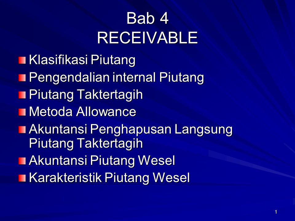 1 Bab 4 RECEIVABLE Klasifikasi Piutang Pengendalian internal Piutang Piutang Taktertagih Metoda Allowance Akuntansi Penghapusan Langsung Piutang Takte