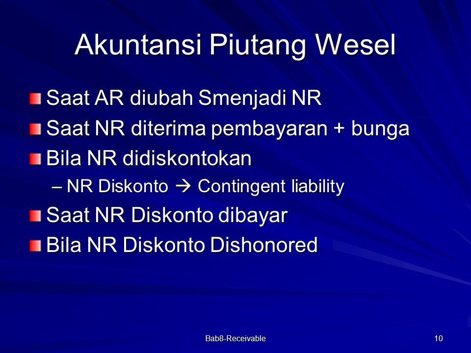 Bab8-Receivable 10 Akuntansi Piutang Wesel Saat AR diubah Smenjadi NR Saat NR diterima pembayaran + bunga Bila NR didiskontokan –NR Diskonto  Conting